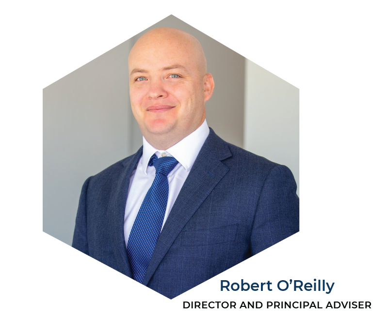 Photo of Robert O'Reilly from APEX Financial Services wearing a blue suit and tie